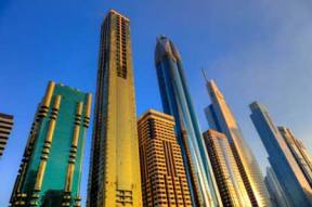 Dubai's modern skyline.  The city plays host to some 200 trade shows each year.