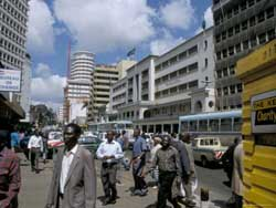 Nairobi's business district: Kenya and other African nations face declining capital inflows.