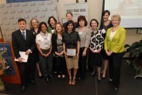 Award winner Shazy Visram, founder and CEO of HappyBaby Foods (center). USCIB's Cynthia Duncan is at far right.