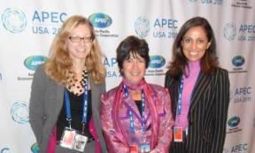 L-R: Justine Badimon (USCIB), Laurie Goldman (Levi Strauss), Nasim Deylami (USCIB).