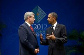 Canadian Prime Minister Stephen Harper and President Obama in Los Cabos, Mexico