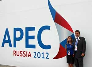 USCIB's Justine Badimon and Peter Robinson in Vladivostok