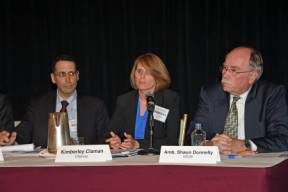 L-R: Michael Tracton (U.S. State Department), Kimberly Claman (Citigroup) and Shaun Donnelly (USCIB).