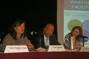 L-R: Trudy Witbreuk (OECD), Ambassador Wayne McCook (WTO), Leslie Griffin (UPS).