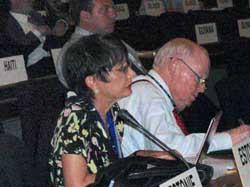 USCIB's Ronnie Goldberg and AFL-CIO President John Sweeney at the International Labor Conference.