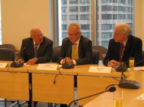 L-R: Peter Schwaiger of the EU Delegation to the United Nations, EU Commissioner Olli Rehn, and Brian Fix, Chair of USCIB's European Union Committee.