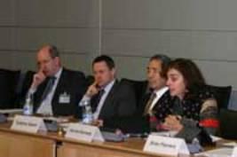 BIAC Secretary General Tadahiro Asami (second from right) and USCIB's Norine Kennedy (far right) at the Paris Green Economies Dialogue.