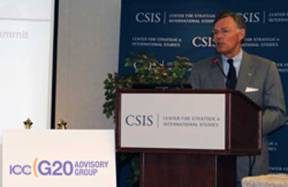 USCIB Chairman Terry McGraw speaking at the G20 consultation in Washington, D.C.