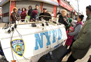A New York Police Department charging station set up following Sandy's blast through the Northeast. (Photo: FEMA)