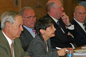 USCIB's Ronnie Goldberg (center) speaking at the consultation with OECD ambassadors in Paris. BIAC Chair Charles Heeter is at far right.