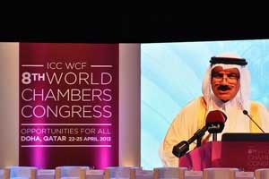 Remy Rowhani, director general of the Qatar Chamber of Commerce and Industry, speaks at the ICC World Trade Agenda Summit.