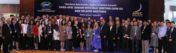 Participants in the APEC regulators forum. At center is Ana Corado of the U.S. Environmental Protection Agency, acting chair of the forum. USCIB's Helen Medina is immediately to the left of Ms. Corado.