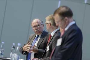 USCIB's Shaun Donnelly (left) makes a point at a well-attended conference in Copenhagen on the Transatlantic Trade and Investment Partnership.