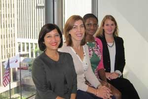 Josefa Sicard-Mirabal (left), who heads the team in charge of marketing ICC dispute resolution services in North America, in the new office in midtown Manhattan, with (L-R) Suzanne Ulicny, Rachel Clarke and Alexandra Akerly