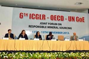 """Panelists at the forum in Kigalai, Rwanda. """"The biggest challenge continues to be the de facto embargo caused by Dodd-Frank,"""" said USCIB's Adam Greene (far left)."""