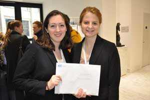 Laura Wolfe (left) and Mary Grace White of the New York University School of Law teamed up to win a place in the quartersfinals of the annual ICC mediation competition.