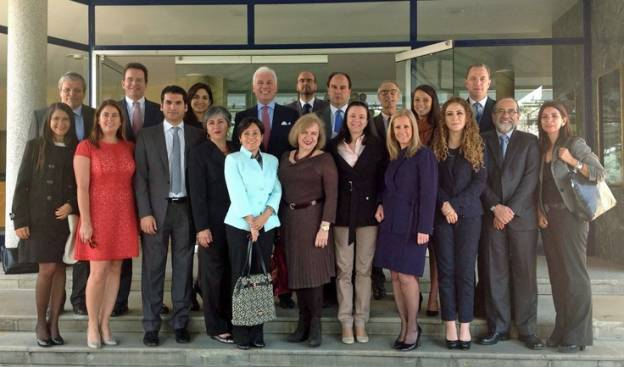 Leaders of ICC's Americas National Committees meeting with ICC secretary general John Danilovich (back row center, in red tie) with USCIB President Peter Robinson (back row, second from left) in Bogota, Colombia.