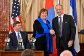 L-R: Charles Rivkin (U.S. State Dept.), Cathy Novelli (U.S. State Dept.) and Ahmet Bozer (Coca-Cola). Photo Credit: U.S. State Department.