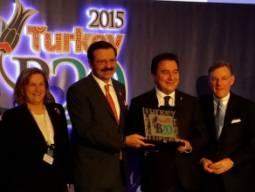 L-R: Guler Sabanci, Rifat Hisarciklioglu (Chair of B20 Turkey), Ali Babacan (Turkisk Deputy Prime Minister) and Terry McGraw (ICC).