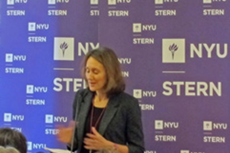 Ambassador Elizabeth Cousens, U.S. Representative to the UN Economic and Social Council, speaking at the NAP dialogue on December 15 at NYU Stern's campus.