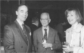 Bill Stibravy (center), who passed away January 5 at age 96, with his wife Roma and Sir Leon Brittan at a USCIB reception in 1992. Stibravy represented world business at the UN for 29 years, working alongside many USCIB members and staff.