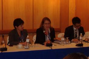 L-R: Laurie Goldman of Levi Strauss & Co; Arrow Augerot of USTR and Raymond Yee of DHL