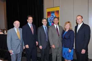 L-R: The OECD's Jeffrey Owens, USCIB President Peter Robinson, IRS Commissioner Douglas Shulman, Michael Reilly of Johnson & Johnson, USCIB's Lynda Walker and Microsoft's Bill Sample.