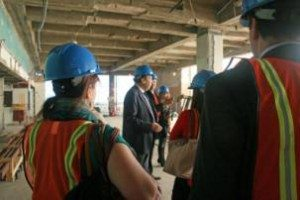 ICC representatives toured the renovations of the UN headquarters with UN Assistant Secretary General Michael Adlerstein (center), who is directing the work.