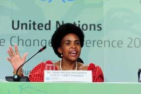 Maite Nkoana-Mashabane, South Africa's environment minister and president of the COP17 negotiations, at a post-conference press briefing.