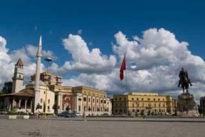 Skandebeg Square in Tirana, Albania