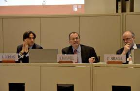 L-R: ICC's Stefano Bertasi, the WTO's Keith Rockwell and Evian Group's Carlos Braga