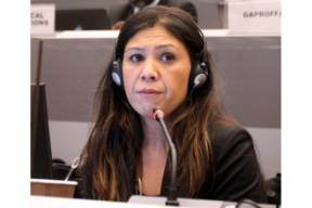 Helen Medina (USCIB) speaks at the second meeting of the Open-Ended Working Group of ICCM in Geneva on December 16. (Credit: International Institute for Sustainable Development)