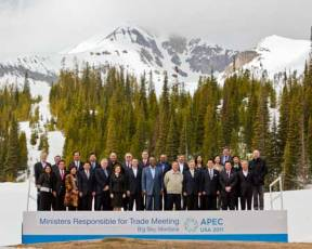 Trade ministers from the 21 APEC economies at the senior officials meeting in Big Sky, Montana.