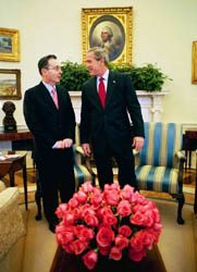 President Bush and Colombian President Alvaro Uribe at the White House in 2004. (White House photo)