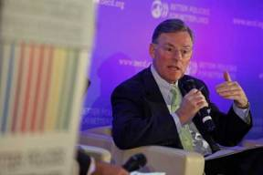 USCIB Chairman Harold McGraw III speaks at a panel on putting people back to work.