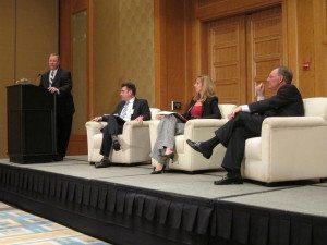 L-R: Rob Mulligan (USCIB), Mark Linscott (USTR), Maritza Castro (DHL), and Terry McGraw (McGraw Hill)
