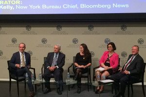 A panel of business representatives at the Bloomberg-USCIB conference discussed the importance of key TPP elements. L-R: Jim Bacchus (Greenberg Traurig), Anissa Brennan (MPAA), Linda Dempsey (NAM) and USCIB Senior Vice President Rob Mulligan.